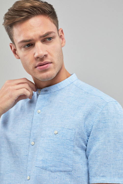 Next Linen/Cotton Grandad Collar Short Sleeve Shirt