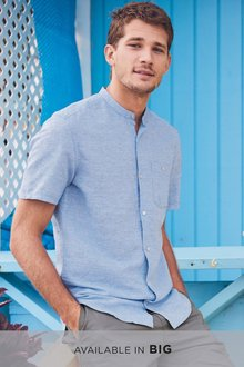 Next Linen/Cotton Grandad Collar Short Sleeve Shirt - 239691