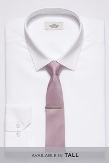 Next Shirt With Tie And Tie Bar Set- Skinny Fit Single Cuff