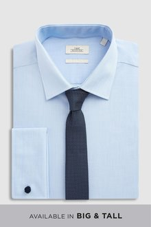 Next Shirt With Textured Tie Set-Slim Fit Double Cuff