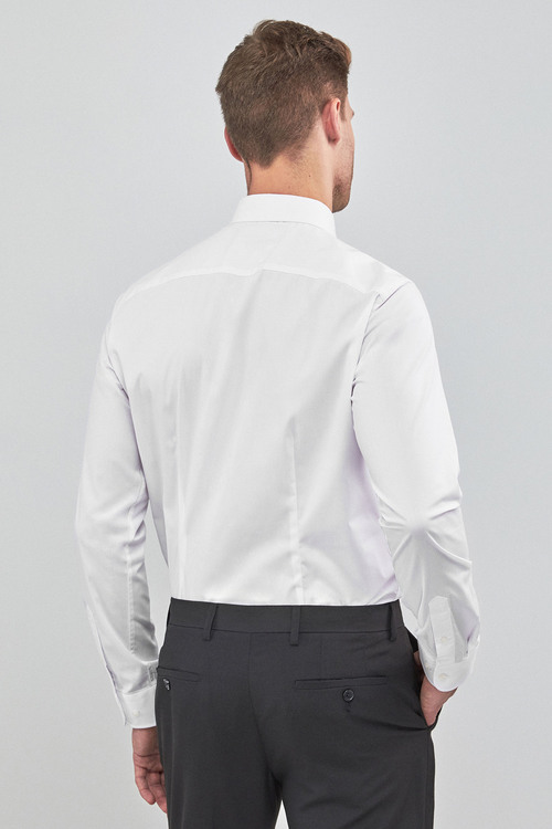 Next Stretch Easy Care Shirt-Slim Fit Single Cuff
