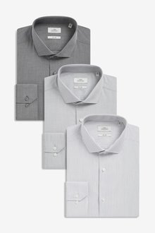 Next Stripe And Textured Shirts Three Pack- Slim Fit Single Cuff