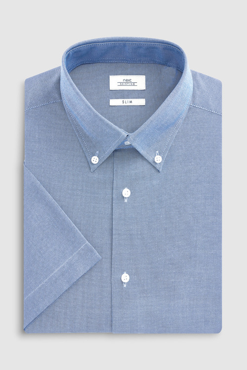 Next Easy Care Oxford Shirt-Slim Fit Short Sleeve