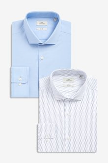 Next Slim Fit Textured And White Print Shirts Two Pack
