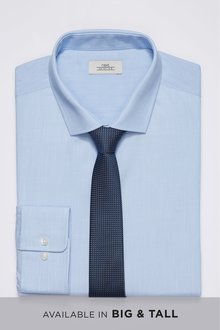 Next Shirt With Textured Tie Set-Regular Fit Single Cuff