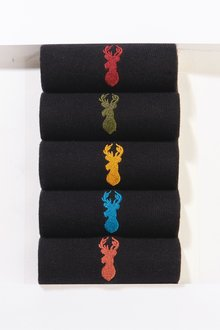 Next Socks With Multi Stag Embroidery Five Pack - 239741