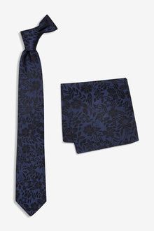 Next Silk Floral Tie And Pocket Square
