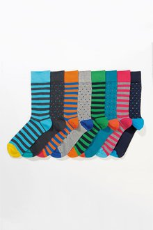 Next Spot And Stripe Socks Eight Pack