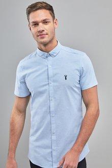 Next Skinny Fit Short Sleeve Stretch Oxford Shirt - 239766