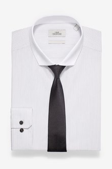 Next Slim Fit Single Cuff Contrast Collar Striped Shirt And Tie Set