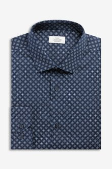 Next Geometric Print Regular Fit Single Cuff Cotton Stretch Shirt