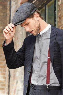 Next Stripe Grandad Collar Long Sleeve Shirt