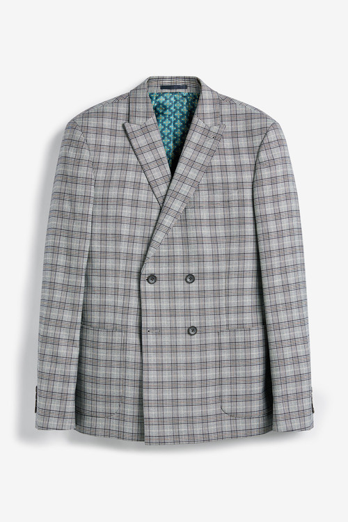Next Check Suit: Jacket- Double Breasted Slim Fit