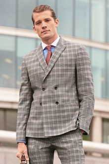 Next Check Suit: Jacket- Double Breasted Slim Fit - 239835