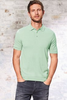 Next Short Sleeve Cotton Silk Knitted Polo