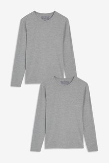 Next Long Sleeve Stretch Cotton T-Shirts Two Pack