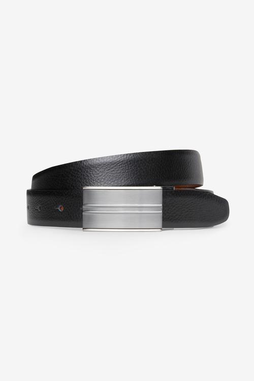 Next Signature Reversible Italian Leather Plaque Belt