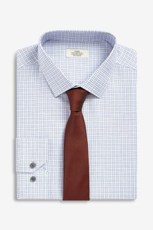 Next Slim Fit Single Cuff Check Shirt And Tie Set