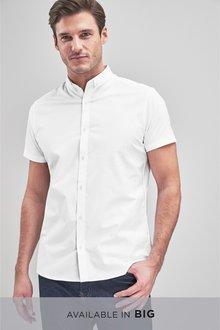 Next Slim Fit Short Sleeve Stretch Oxford Shirt