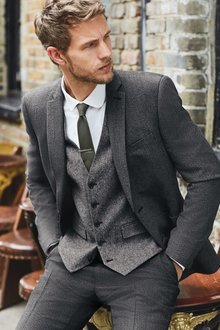 Next Textured Suit: Jacket- Double Breasted Slim Fit - 239882