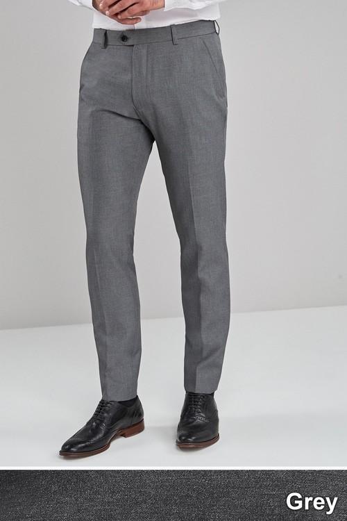 Next Machine Washable Plain Front Trousers- Slim Fit