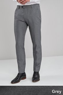 Next Machine Washable Plain Front Trousers- Slim Fit