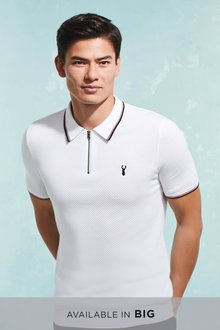 Next Tipped Zip Neck Knitted Polo