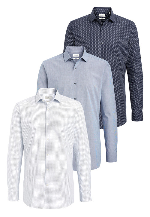 Next Textured And Print Shirts Three Pack- Slim Fit Single Cuff