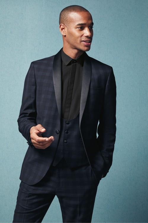 Next Check Tuxedo Suit: Trousers