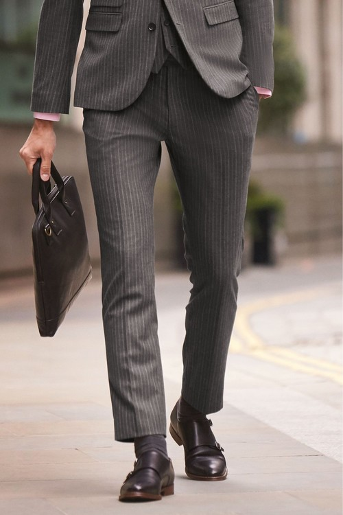Next Stripe Suit: Trousers- Skinny Fit