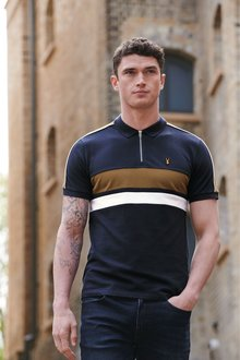 Next Block Stripe Zip Neck Polo