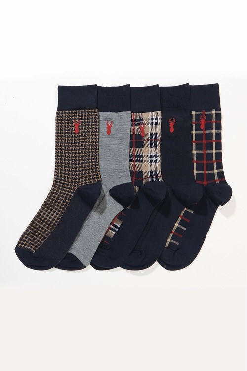Next Check Socks With Stag Embroidery Five Pack