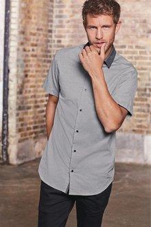 Next Contrast Collar Textured Shirt