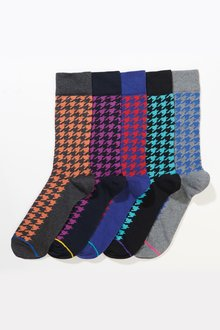 Next Dogtooth Pattern Socks Five Pack