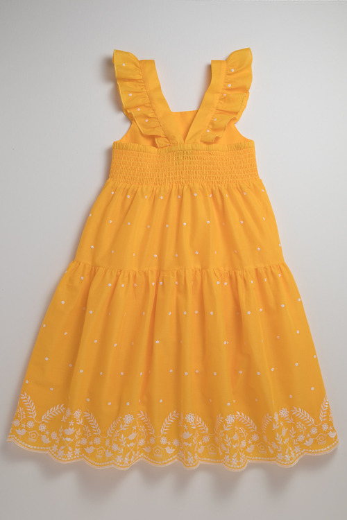 Pumpkin Patch Dress with Embroidery Hem