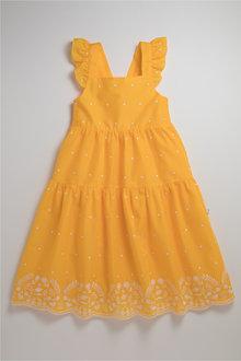 Pumpkin Patch Dress with Embroidery Hem - 239983
