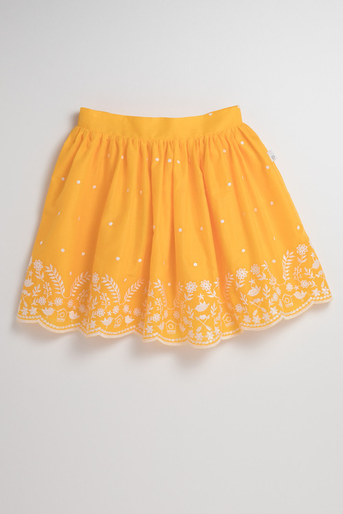 Pumpkin Patch Skirt with Embroidered Hem