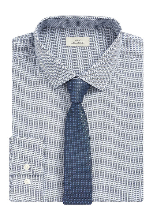 Next Regular Fit Printed Shirt With Tie