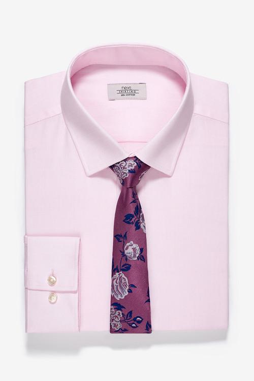Next Slim Fit Shirt And Floral Tie Set