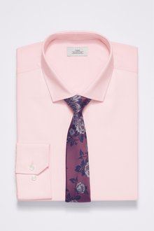 Next Slim Fit Shirt And Floral Tie Set