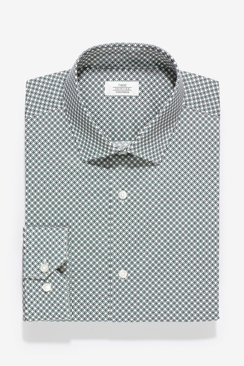 Next Geometric Print Slim Fit Single Cuff Cotton Stretch Shirt