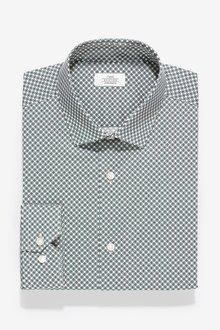 Next Geometric Print Slim Fit Single Cuff Cotton Stretch Shirt