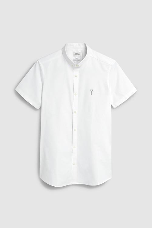 Next Skinny Fit Short Sleeve Stretch Oxford Shirt