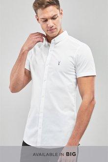 Next Skinny Fit Short Sleeve Stretch Oxford Shirt - 240012