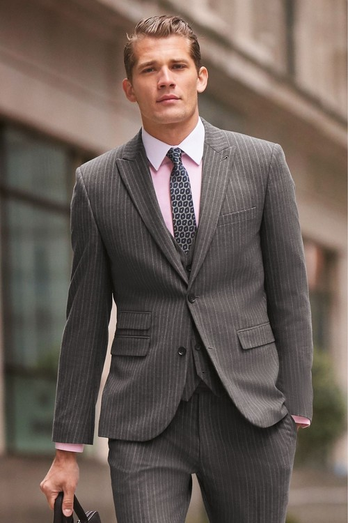 Next Stripe Suit: Jacket- Skinny Fit