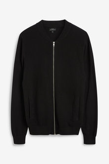 Next Textured Knitted Zip Through Bomber
