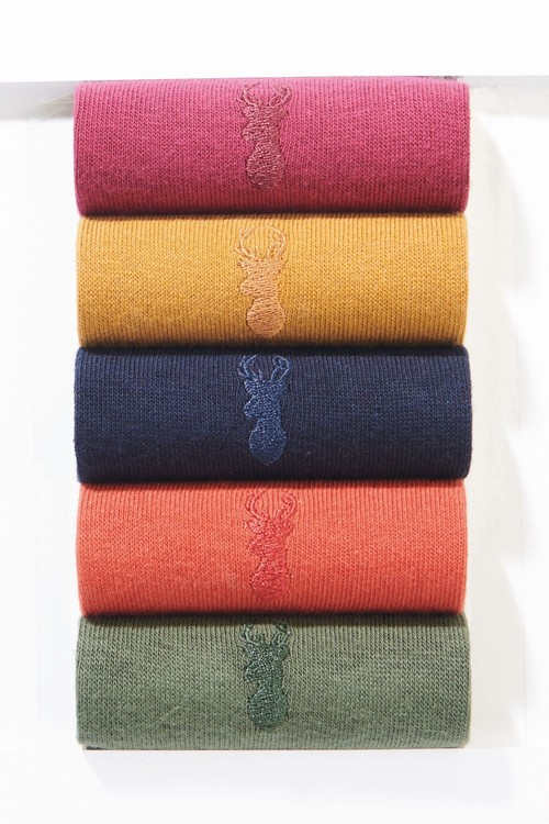 Next Colour Socks With Stag Embroidery Five Pack
