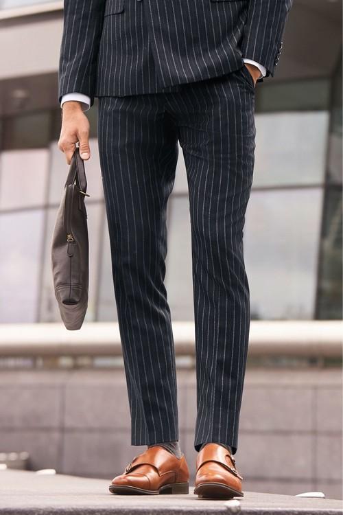 Next Stripe Suit: Trousers- Slim Fit