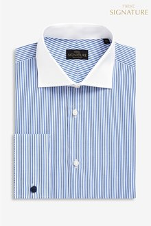 Next Signature Regular Fit Single Cuff Stripe White Collar Shirt
