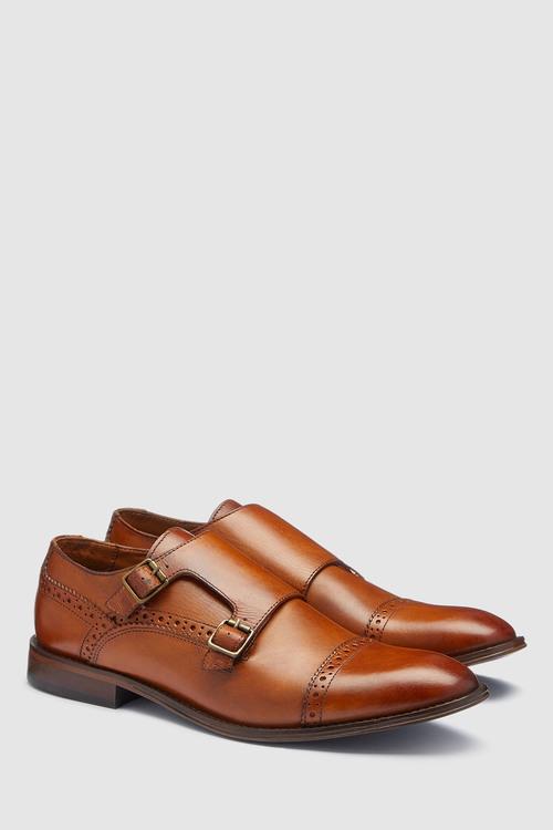 Next Leather Toe Cap Monk Shoe
